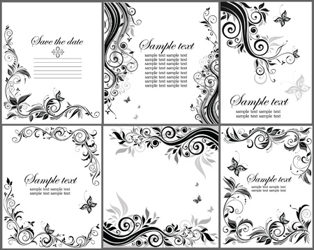 black swirl: Set of floral banner  black and white