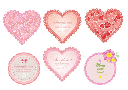 roses and hearts: Cute greeting labels