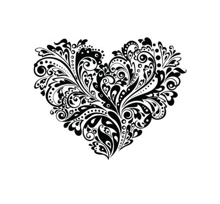 tatouage fleur: D�coratif forme noire de c?ur et blanc