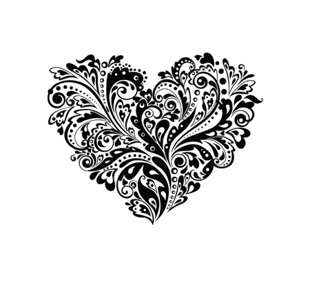 heart tattoo: Decorative heart shape  black and white  Illustration