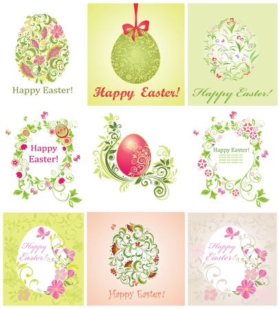Easter greeting beautiful cards Vector