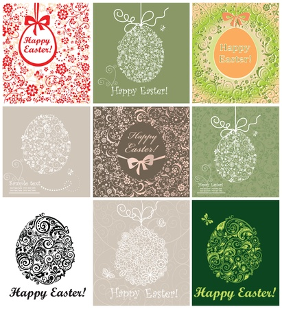 Set of easter decorative cards Vector