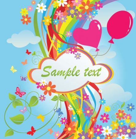 Banner with flowers and rainbow Vector