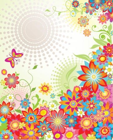 Colorful summer floral banner Vector
