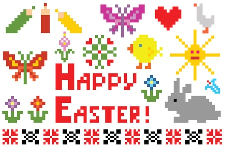 Easter set. Embroidery. Vector