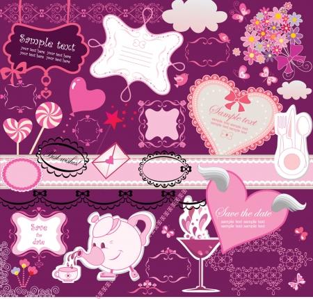 candy hearts: Scrapbook elements Illustration