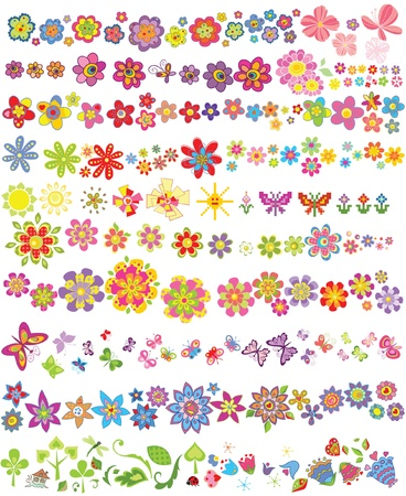 flores: Set of flowers and butterflies