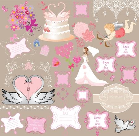 donna farfalla: Elementi di nozze Vettoriali