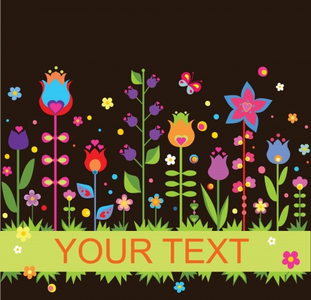 Funny seamless border with tulip Vector