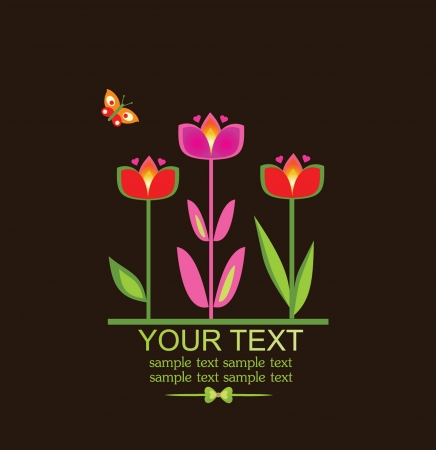 Greeting card with tulip Vector