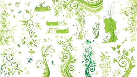 Green floral borders Vector