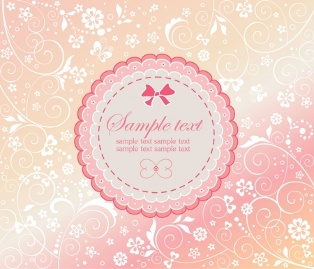 paper curl: Baby girl arrival card Illustration