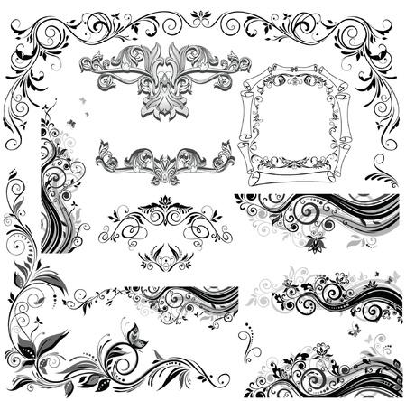 corner border: Vintage floral design Illustration