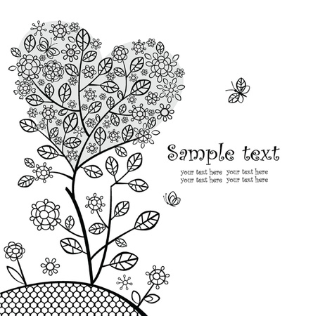 Decorative greeting tree Vector