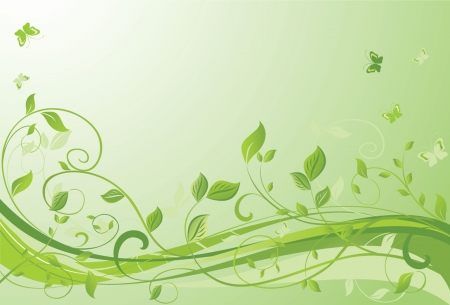 Green floral banner Vector