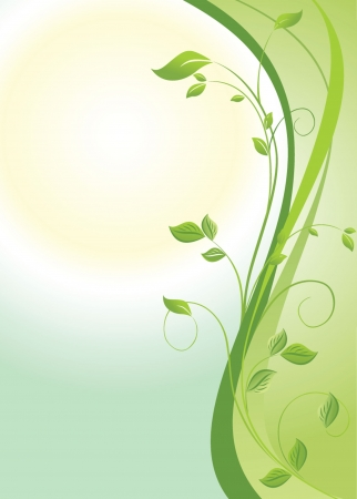 Green floral vertical banner Vector