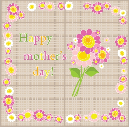 flower border pink: Happy Mothers Day! Illustration