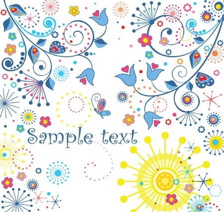 Greeting abstract floral card Vector