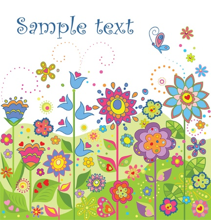 Greeting seamless floral border Vector