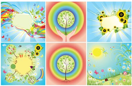 potato tree: Set of summer cards Illustration