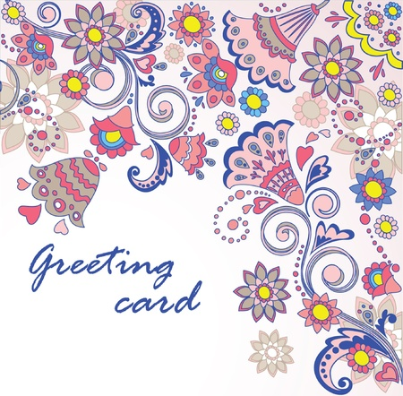 Vintage greeting floral card Vector