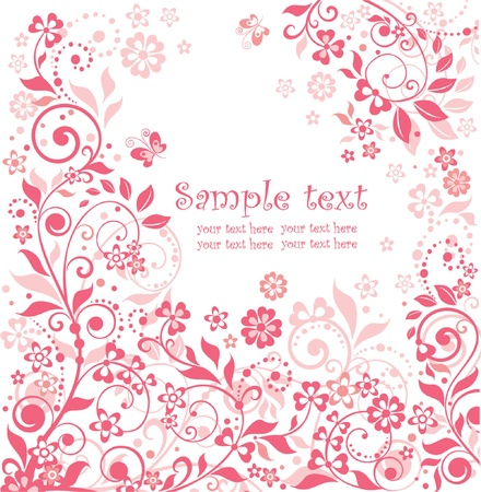 flower border pink: Beautiful floral greeting card
