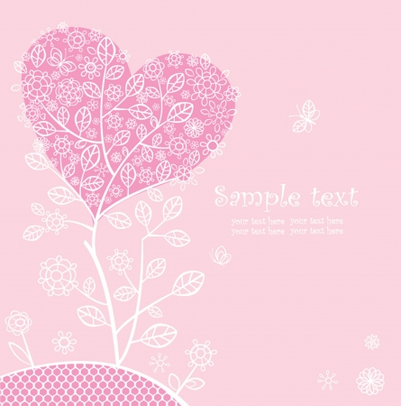 Beautiful pink lacy card Vector