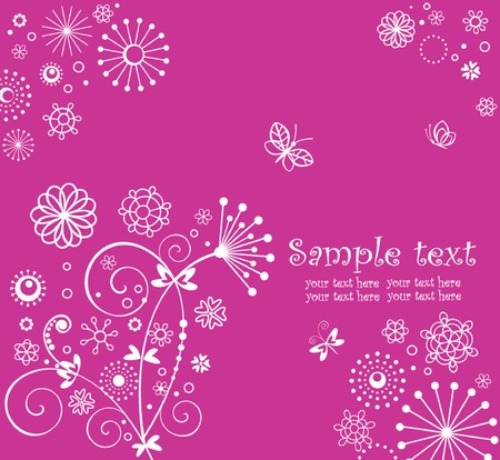 Cute greeting pink background Vector