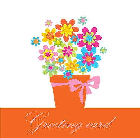 Greeting card with bouquet Stock Vector - 18858435