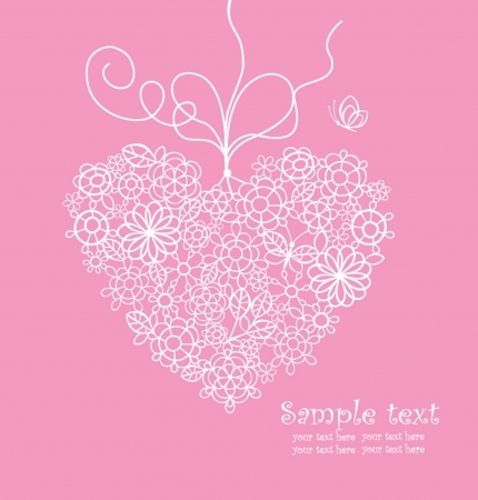 Greeting card with lacy heart Vector
