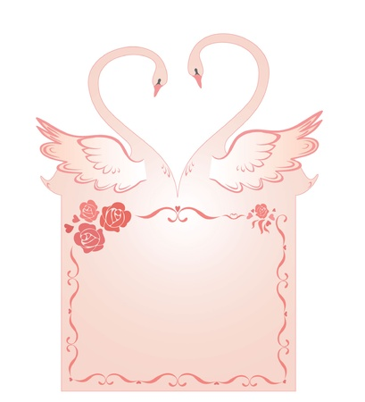 Greeting card with swans Vector