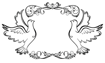 wedding symbol: Vintage wedding frame Illustration