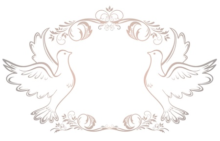 silver anniversary: Wedding vintage frame Illustration