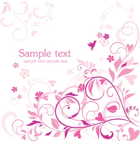 summer holidays: Beautiful floral pink card Illustration