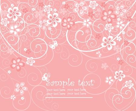 Beautiful pink card Vector