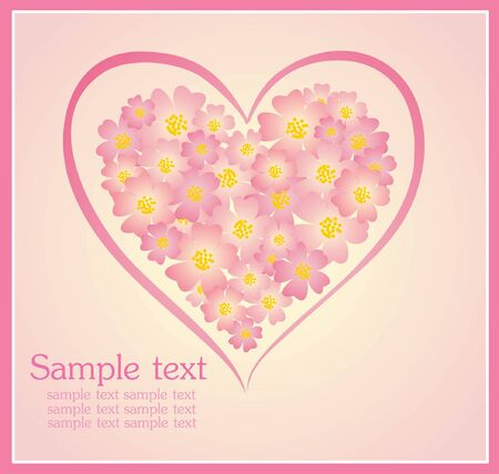 roses and hearts: Beautiful greeting card with floral heart shape