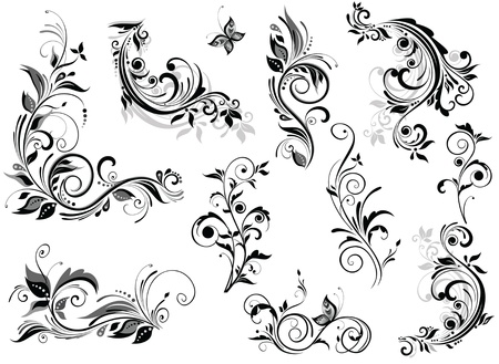 tattoo butterfly: Vintage disegno floreale Vettoriali