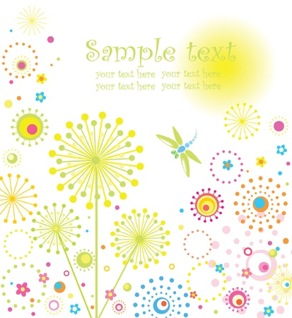 Abstract card with dandelion Vector