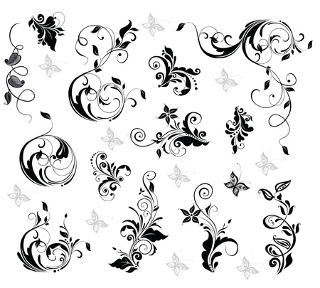butterfly silhouette: Elegant floral design Illustration