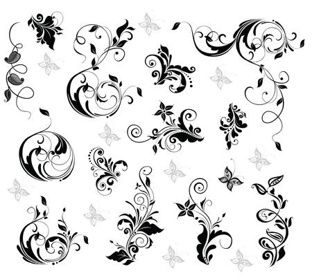 farfalla tatuaggio: Elegante disegno floreale Vettoriali