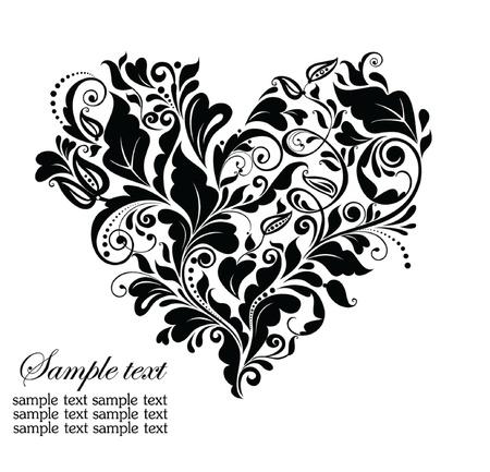 wedding background: Floral black heart Illustration