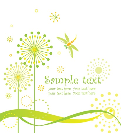dandelion flower: Greeting card with abstract dandelions