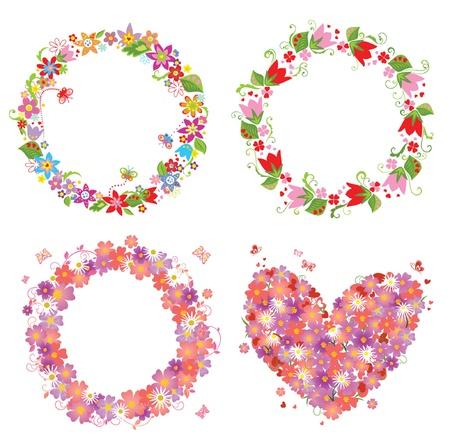 Flower wreath and heart shape Vector