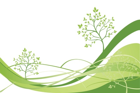 Green background with tree Stock Vector - 18874153