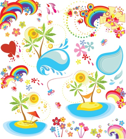 Set of summer holiday icon Vector