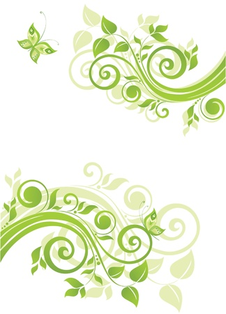 green eco: Green floral banner