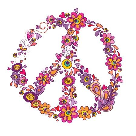 simbolo de la paz: Paz s�mbolo de la flor Vectores