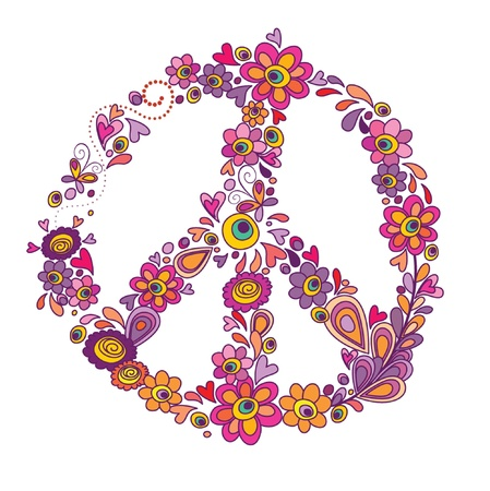 peace sign: Peace flower symbol Illustration