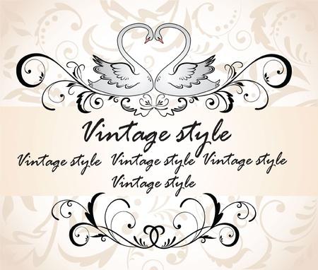poezie: Vintage header met zwanen