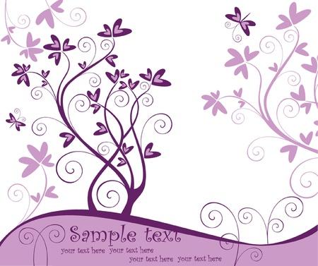 Violet floral card Vector